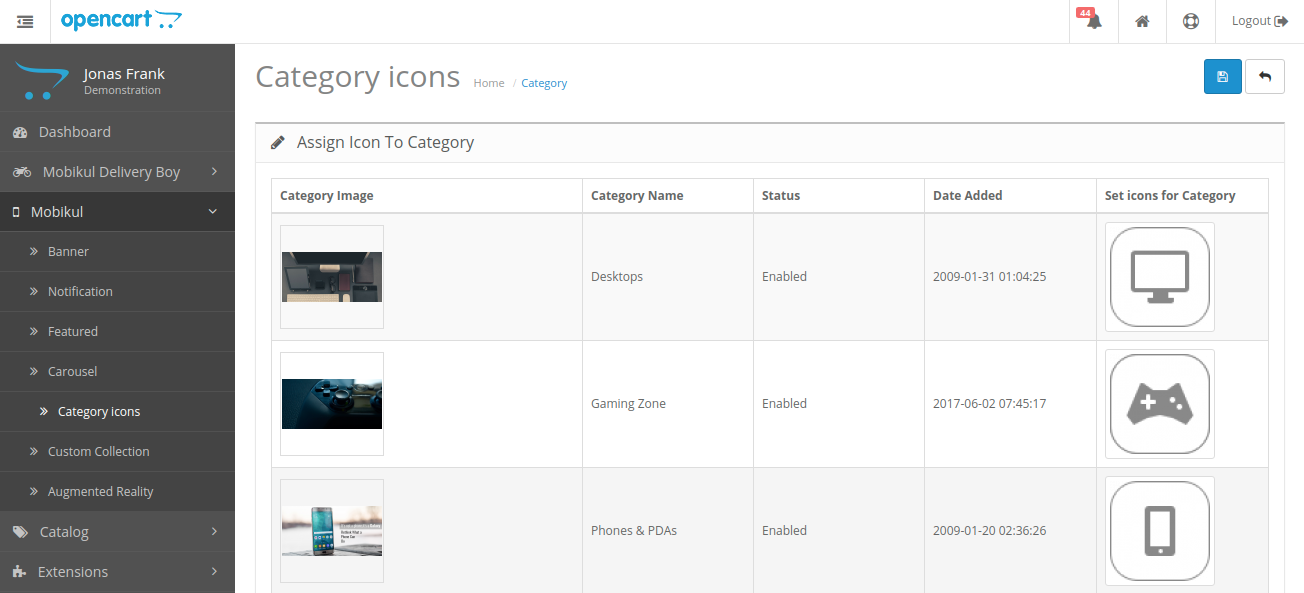 webkul-opencart-mobile-app-assign-category-to-icons