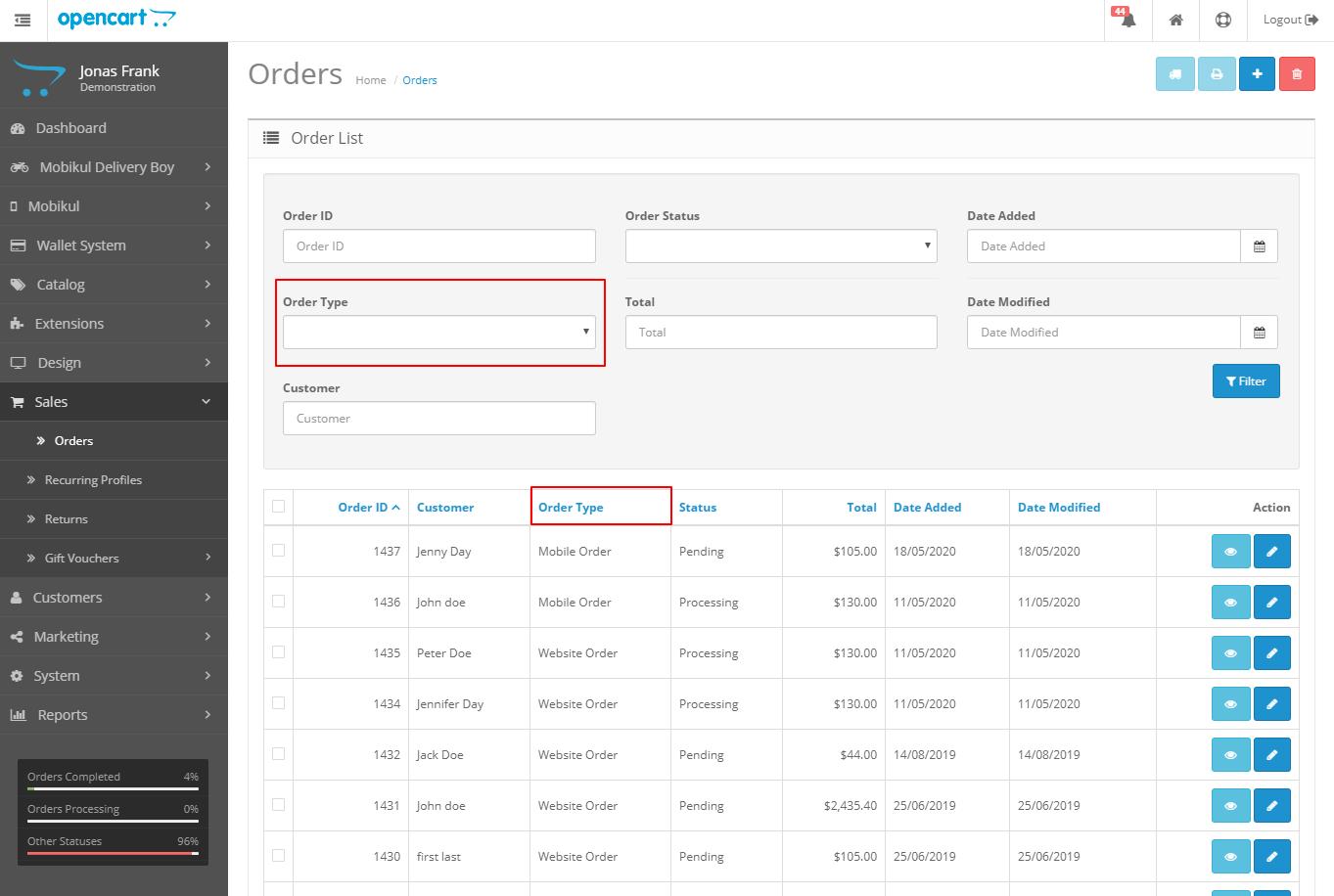 webkul-opencart-mobile-app-builder-order-type