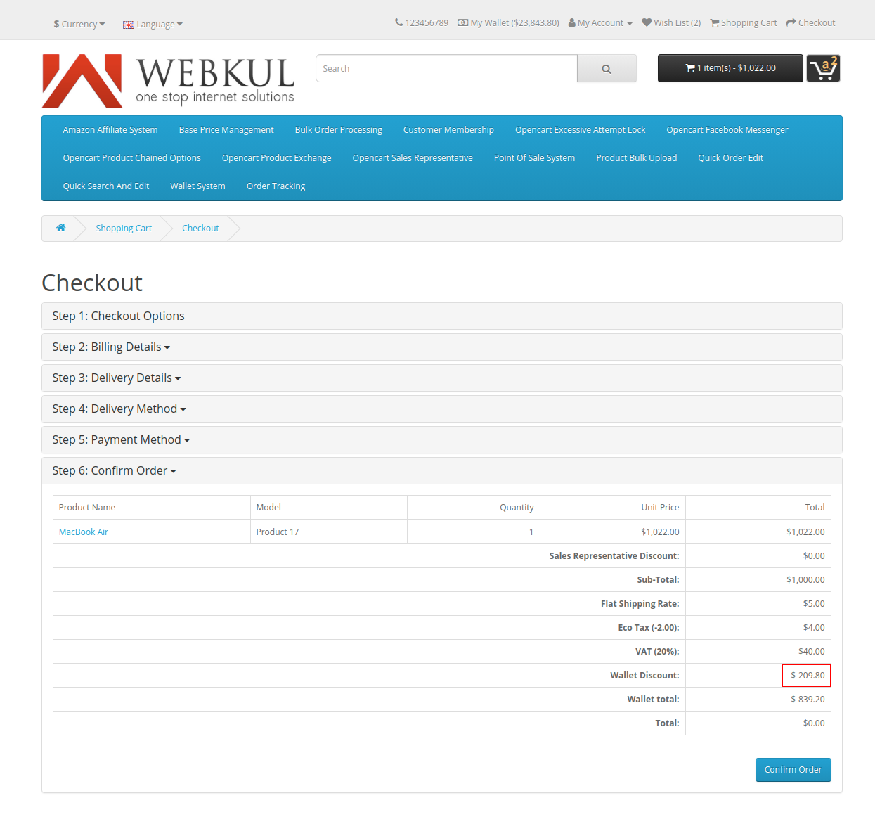 webkul-opencart-wallet-system-sub-total-discount-1