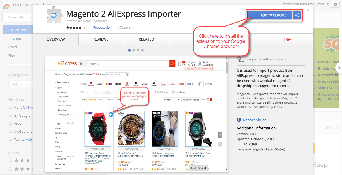 Add To Chrome the AliExpress Importer