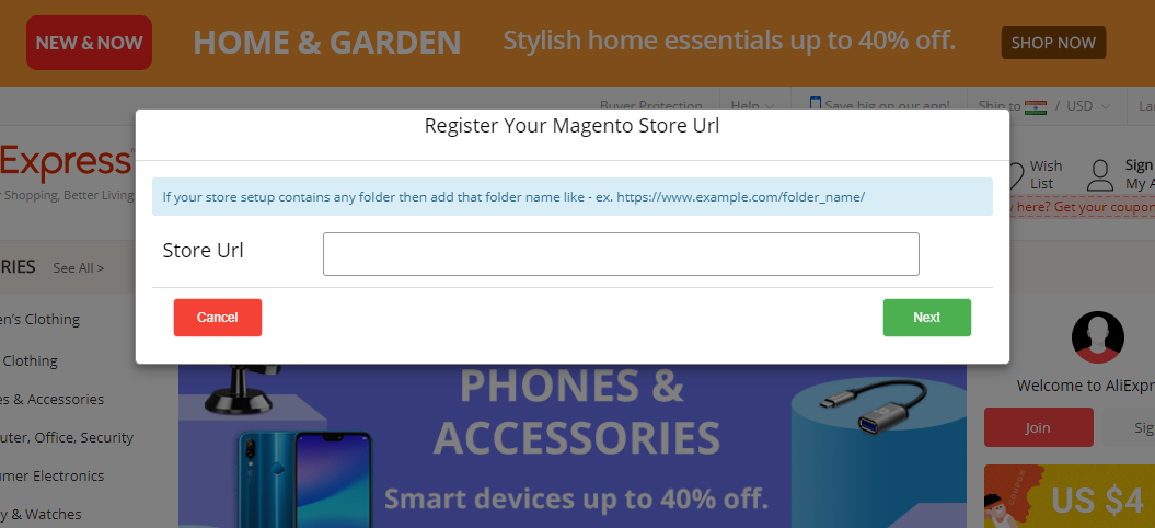 Edit the Store URL Pop up AliExpress Importer use