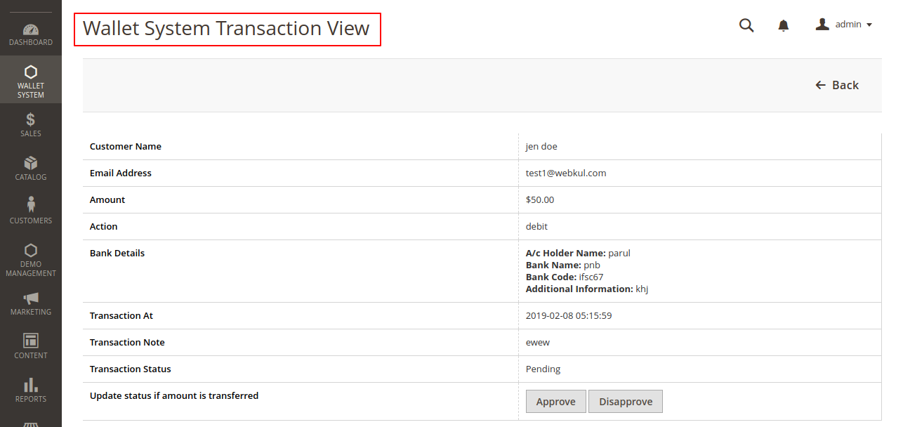 wqllet system transactional view