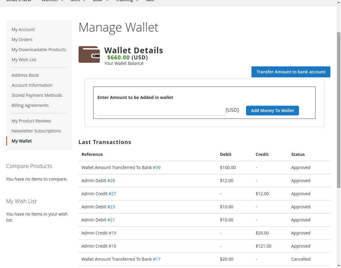 wallet system approved