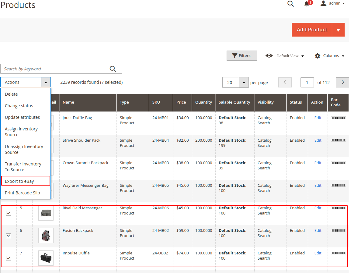 catalog_export_product_eBay Connector for Magento2