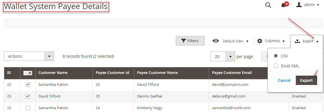 Wallet System Export Payee Details Magento 2 Wallet System