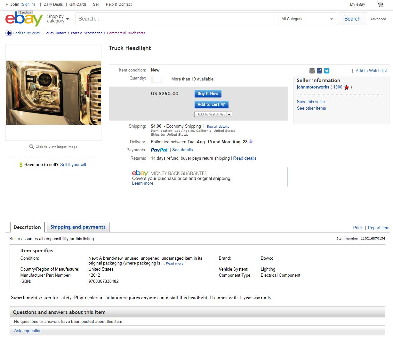 import product on ebay