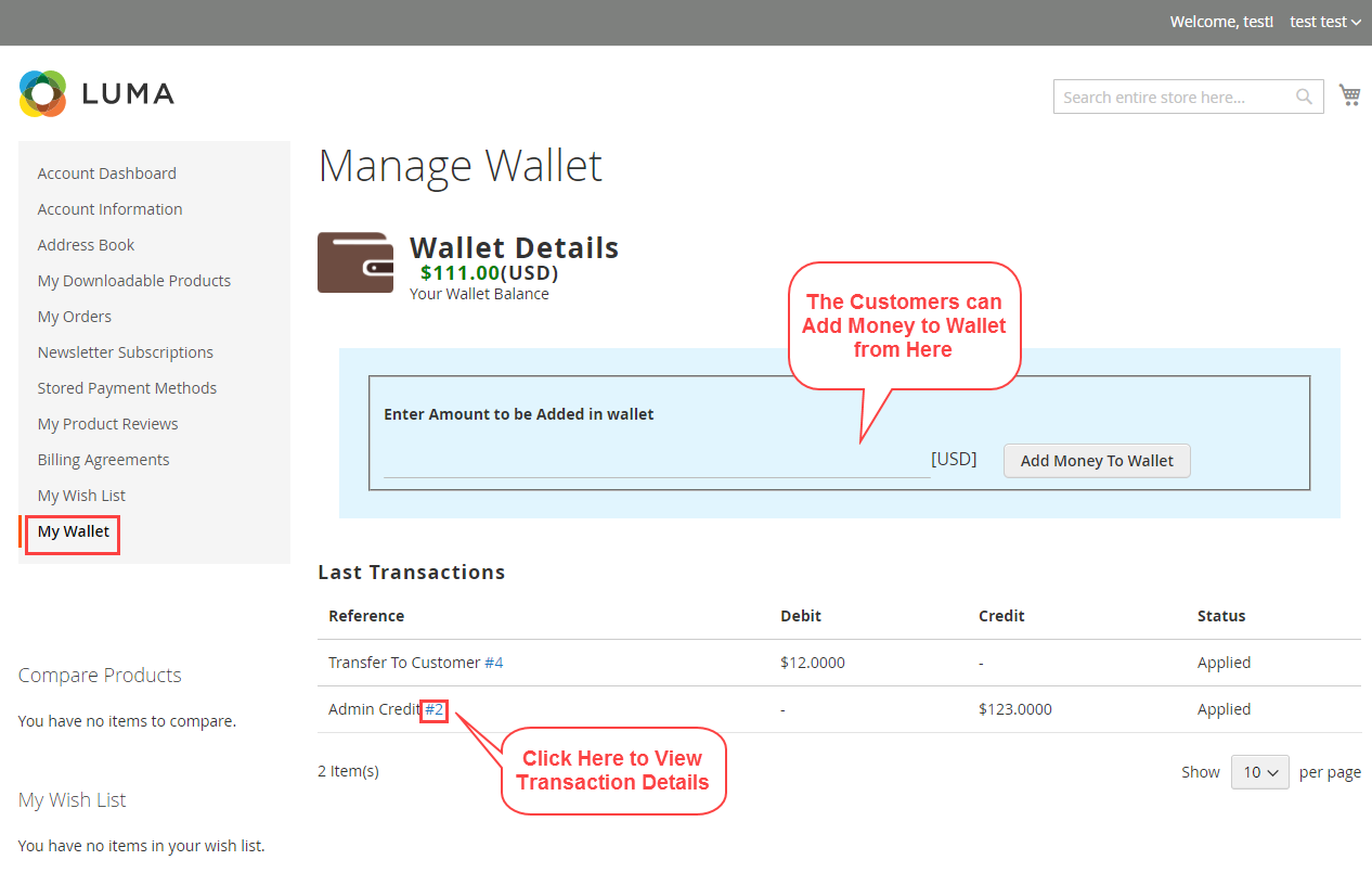 Magento 2 wallet system manage wallet amount