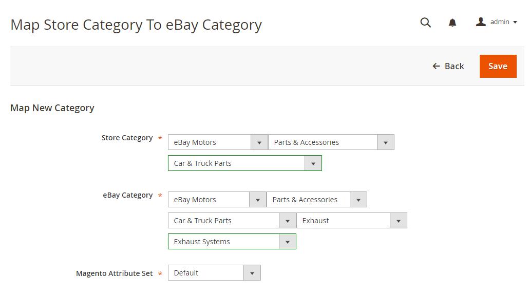 mapping ebay motors categories