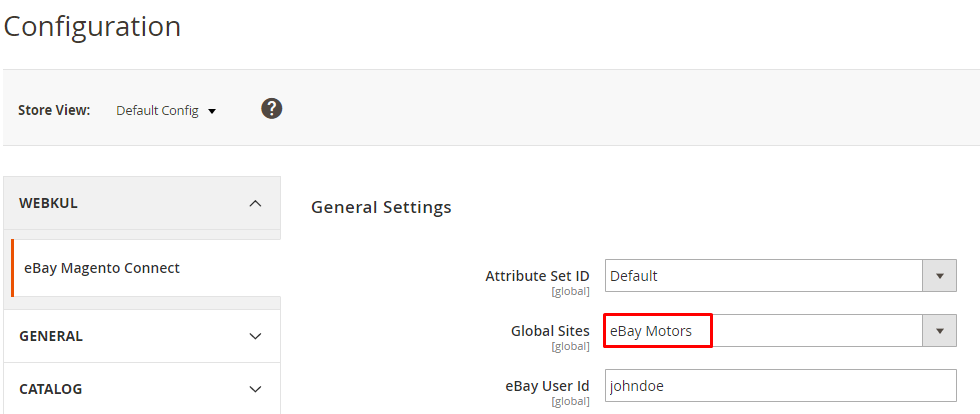 select ebay motors options_eBay Connector for Magento2