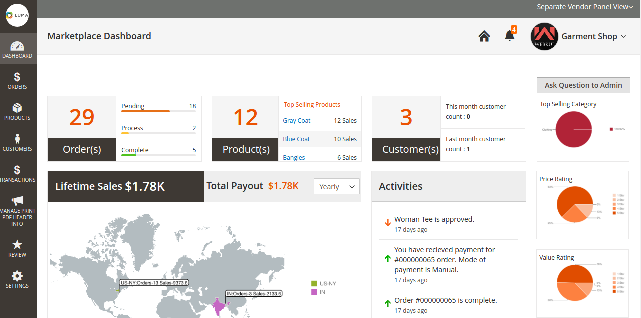 Marketplace Seller Vacation for Magento2 dashboard