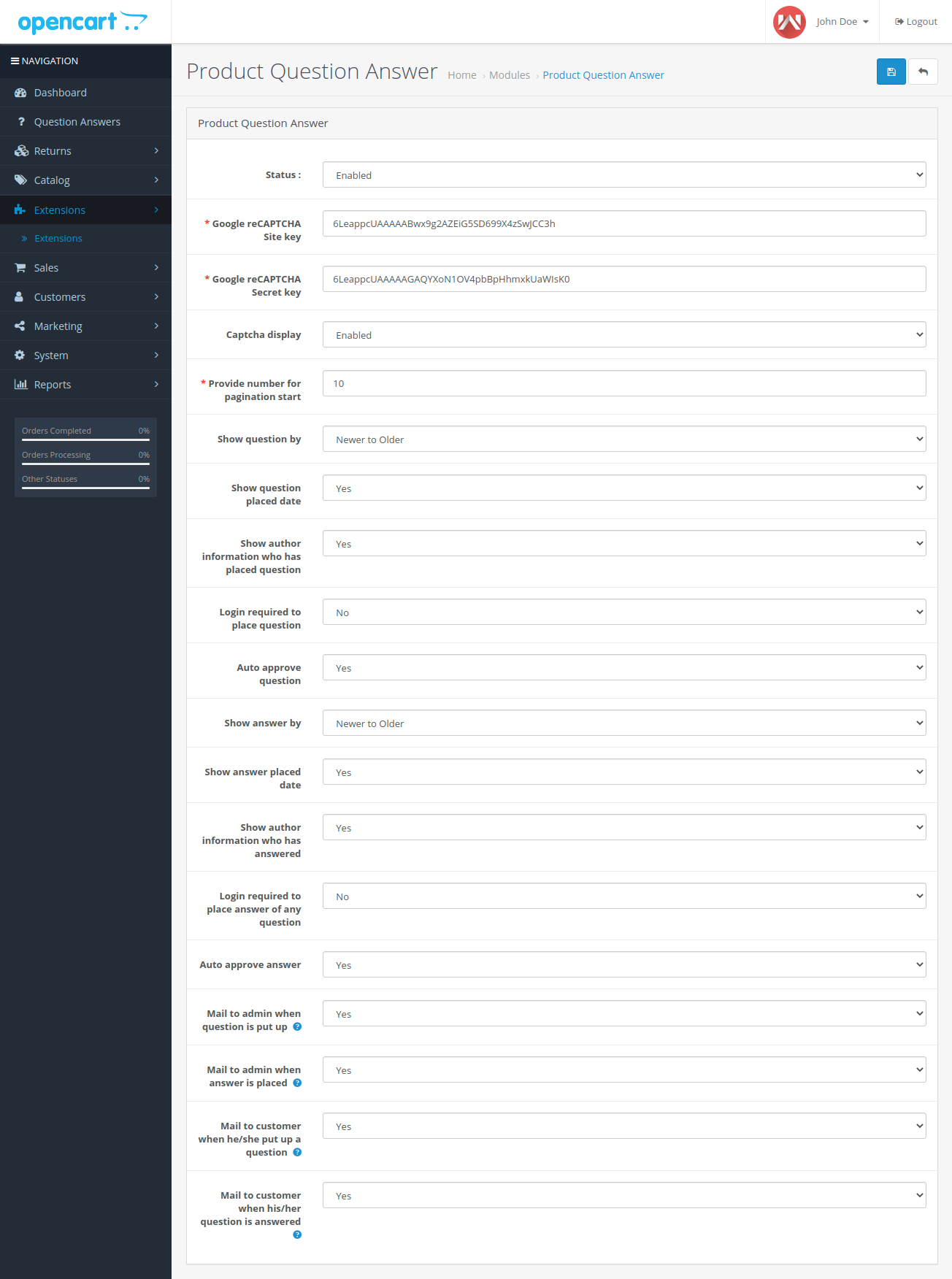 webkul-opencart-product-question-answers-admin-configurations