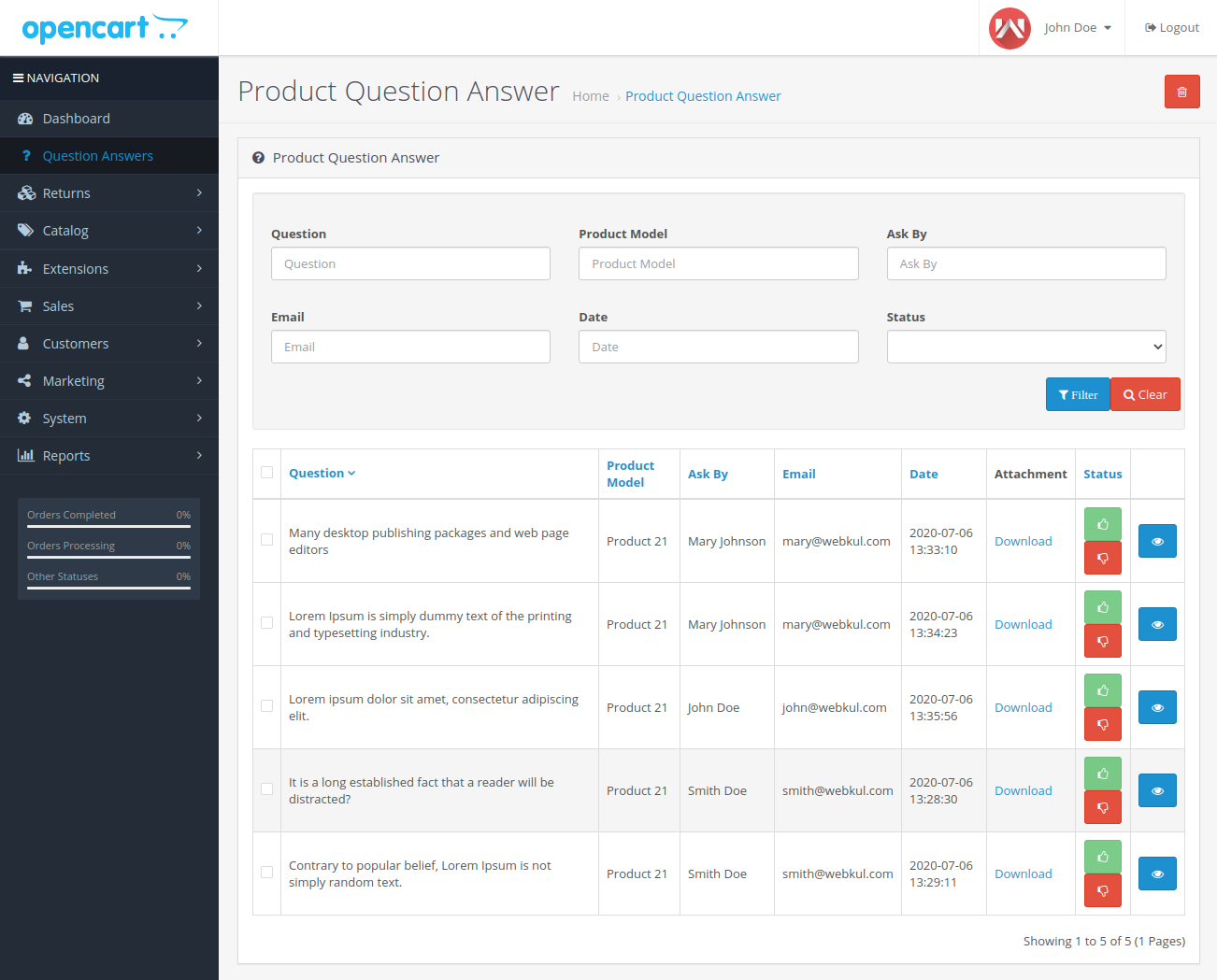 webkul-opencart-product-question-answers-admin-end-question-listing