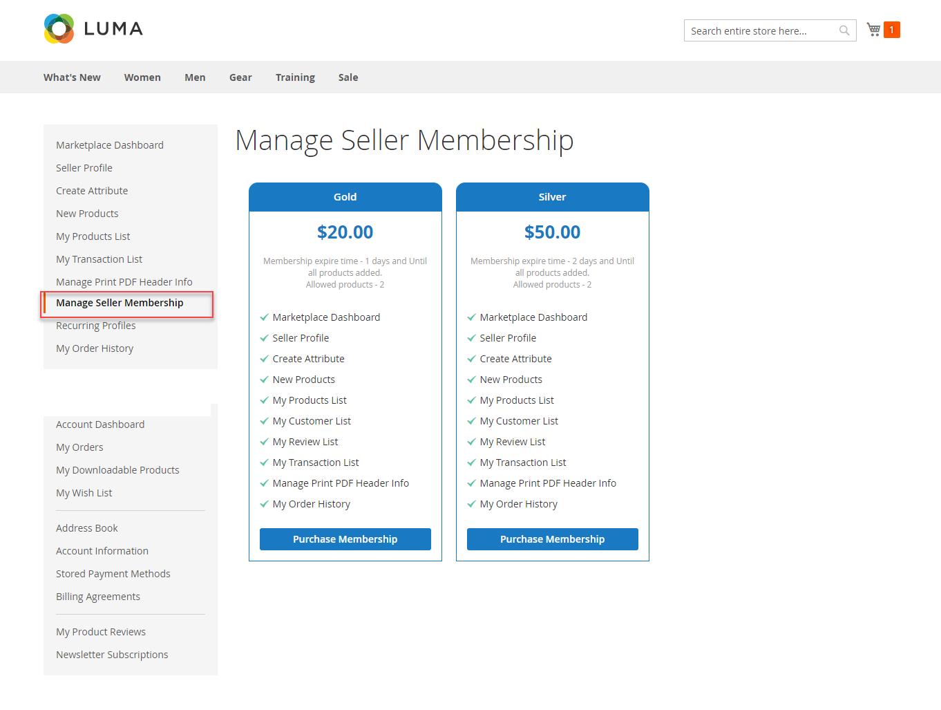 manage seller membership