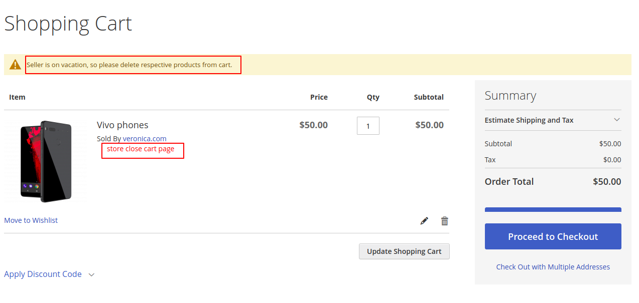 webkul-magento2-marketplace-seller-vacation-cart-page