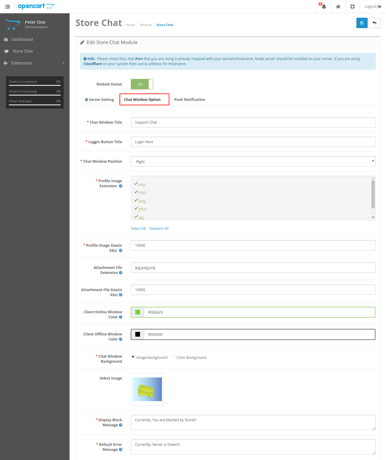 webkul-opencart-admin-buyer-chat-status-enabled-server-setting-2