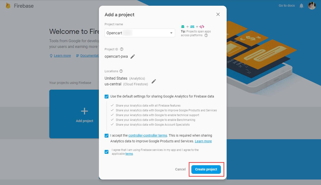 webkul-opencart-pwa-firebase-add-project
