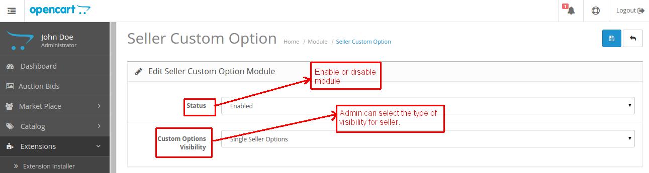 seller custom option