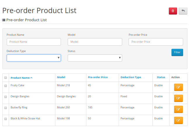 Pre order Product List