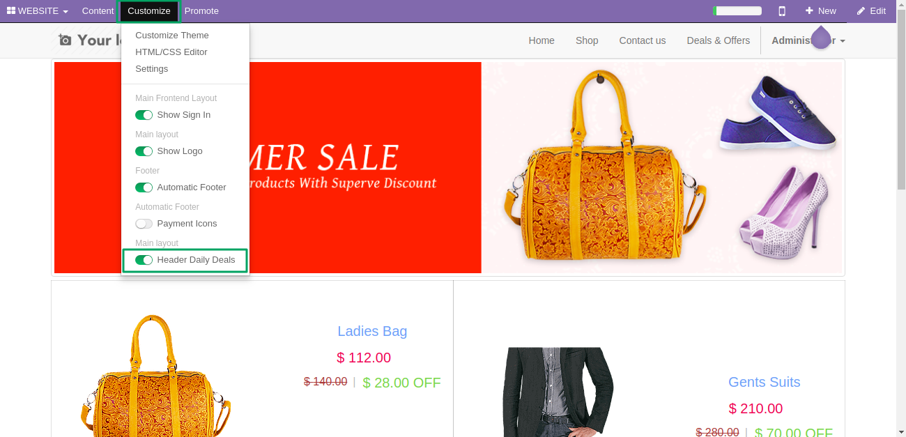 Odoo Website Daily Deals