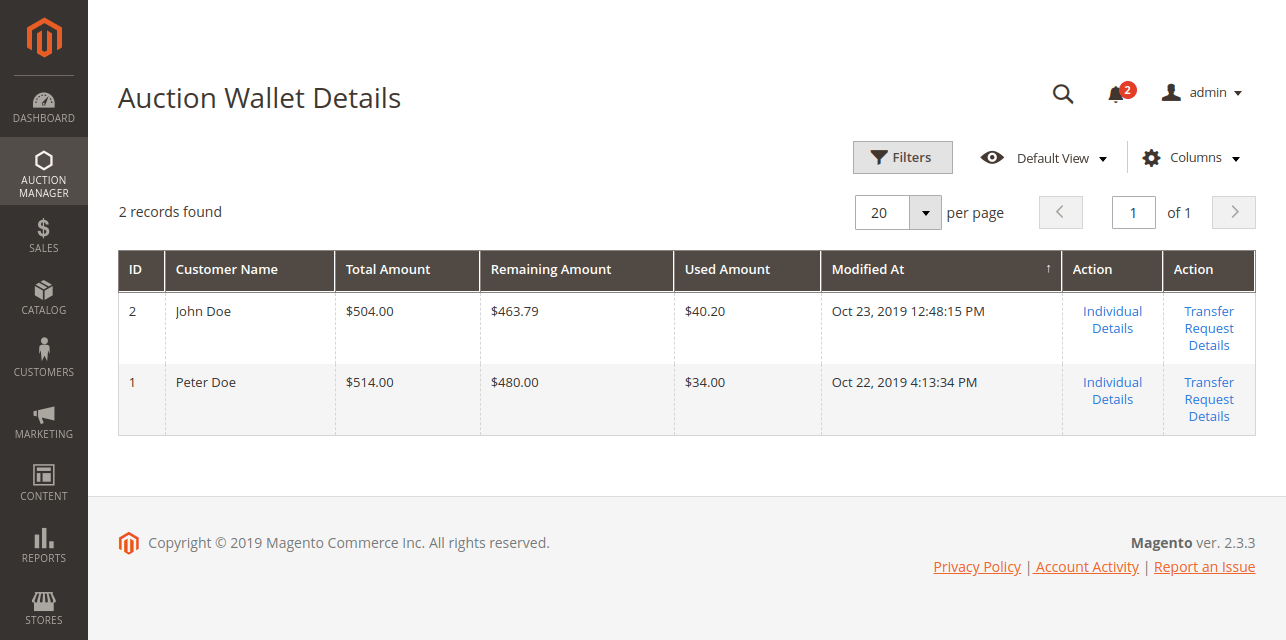 account wallet details