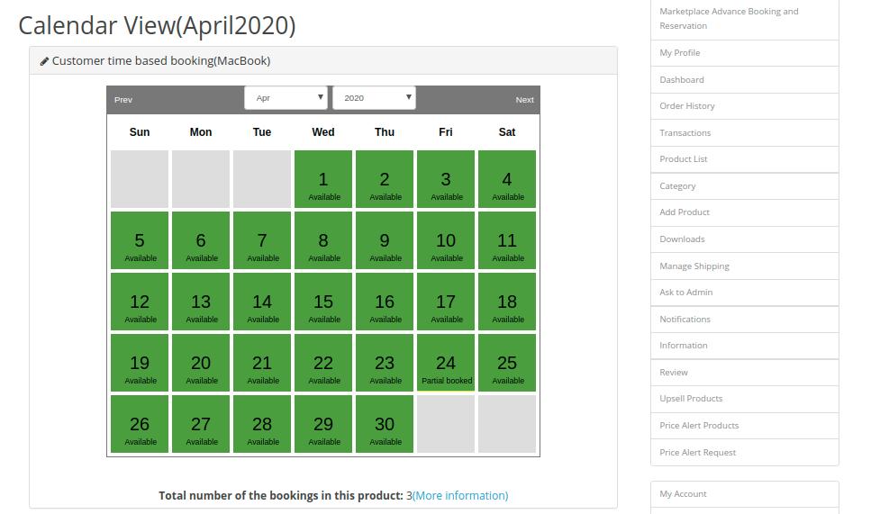 Calendar-customer-time-based
