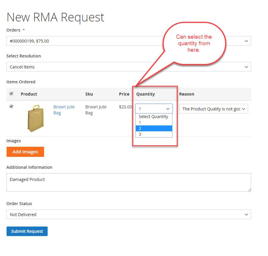 new rma request