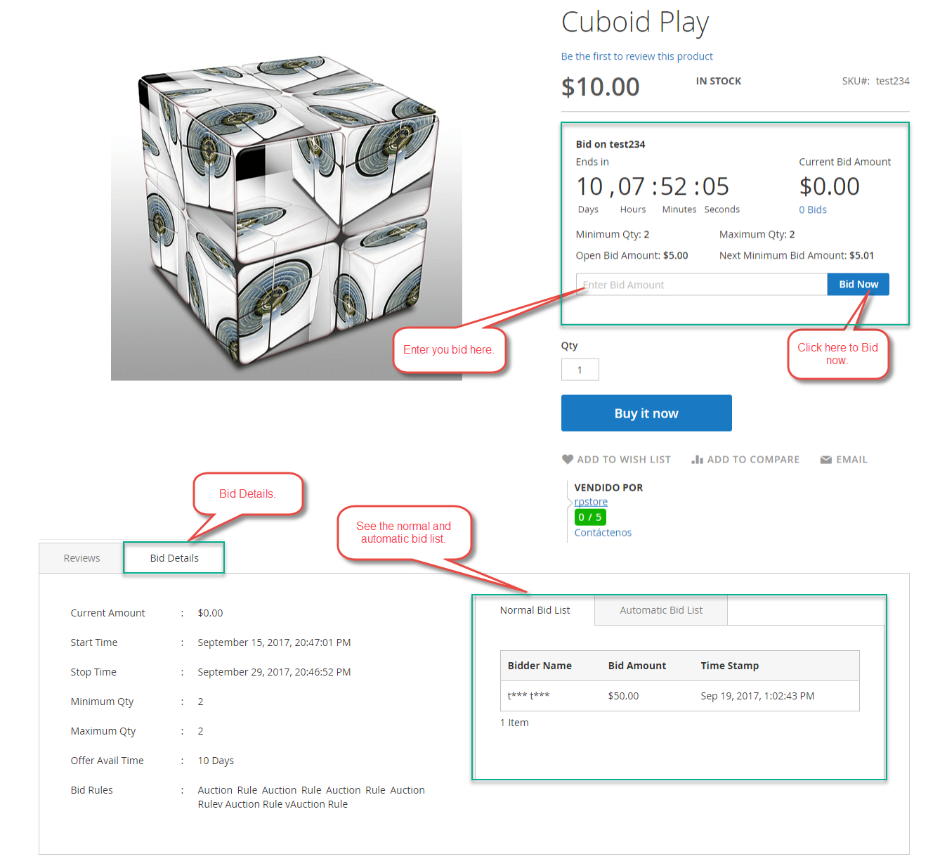 Auction Visible on product page