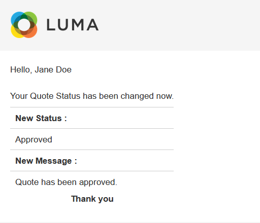 quote status change email to customer