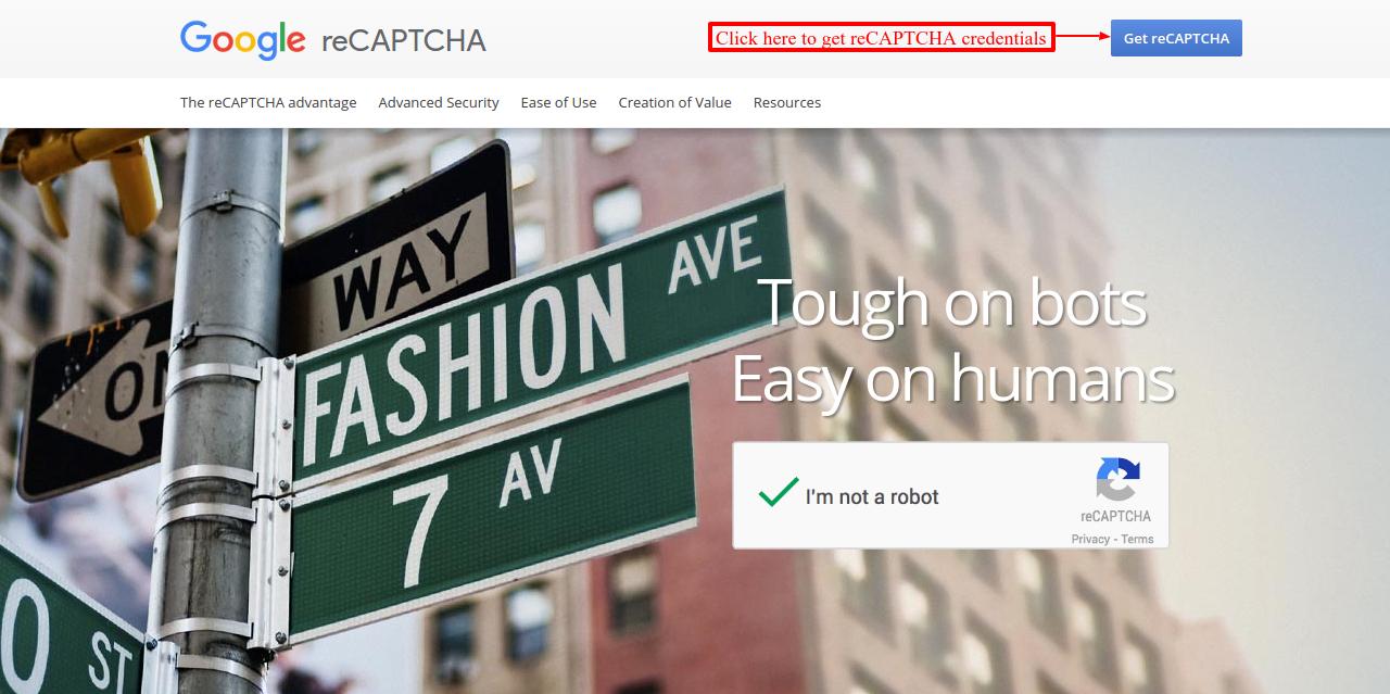 Click to access reCaptcha credentials