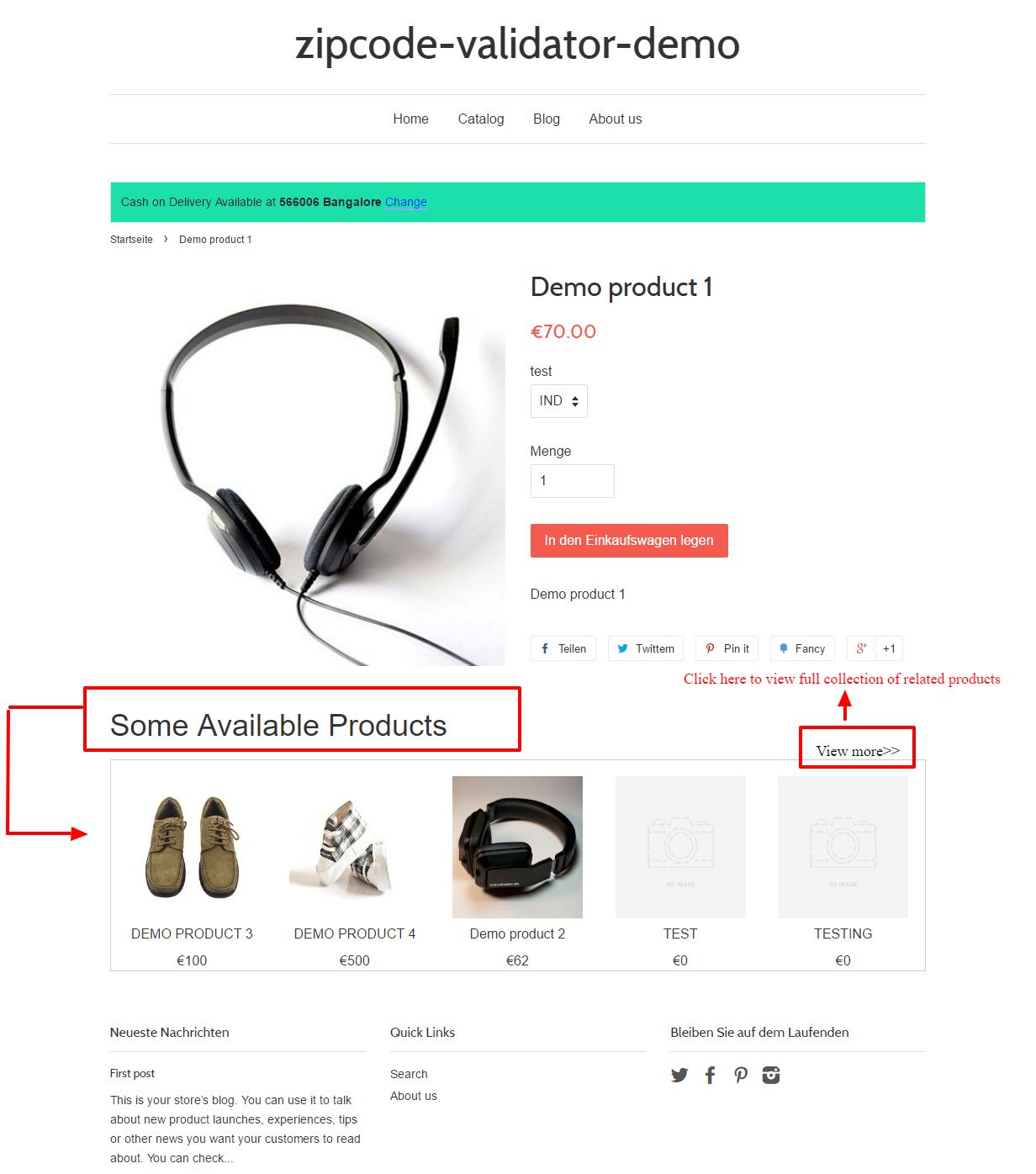 Demo product 1 – zipcode validator demo