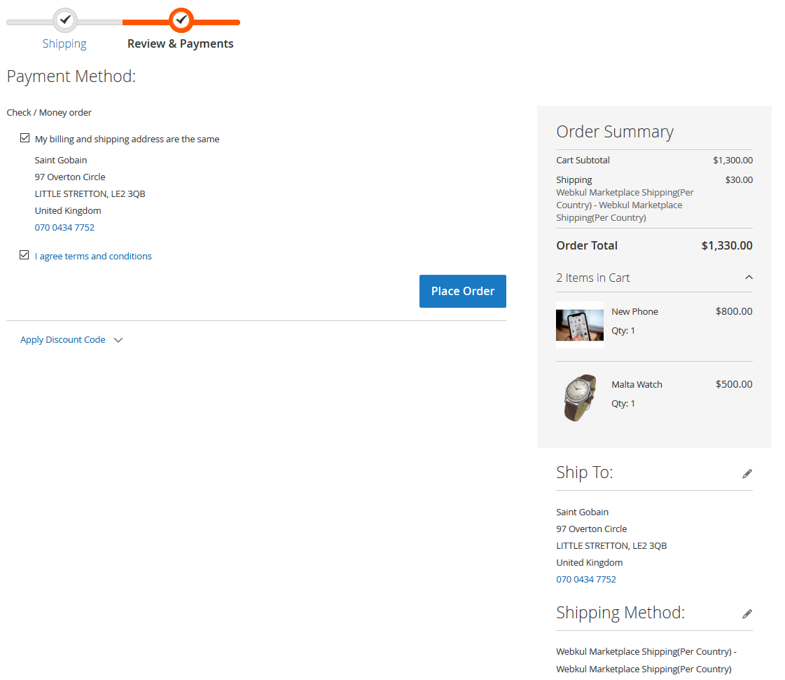 collective shipping at order place page