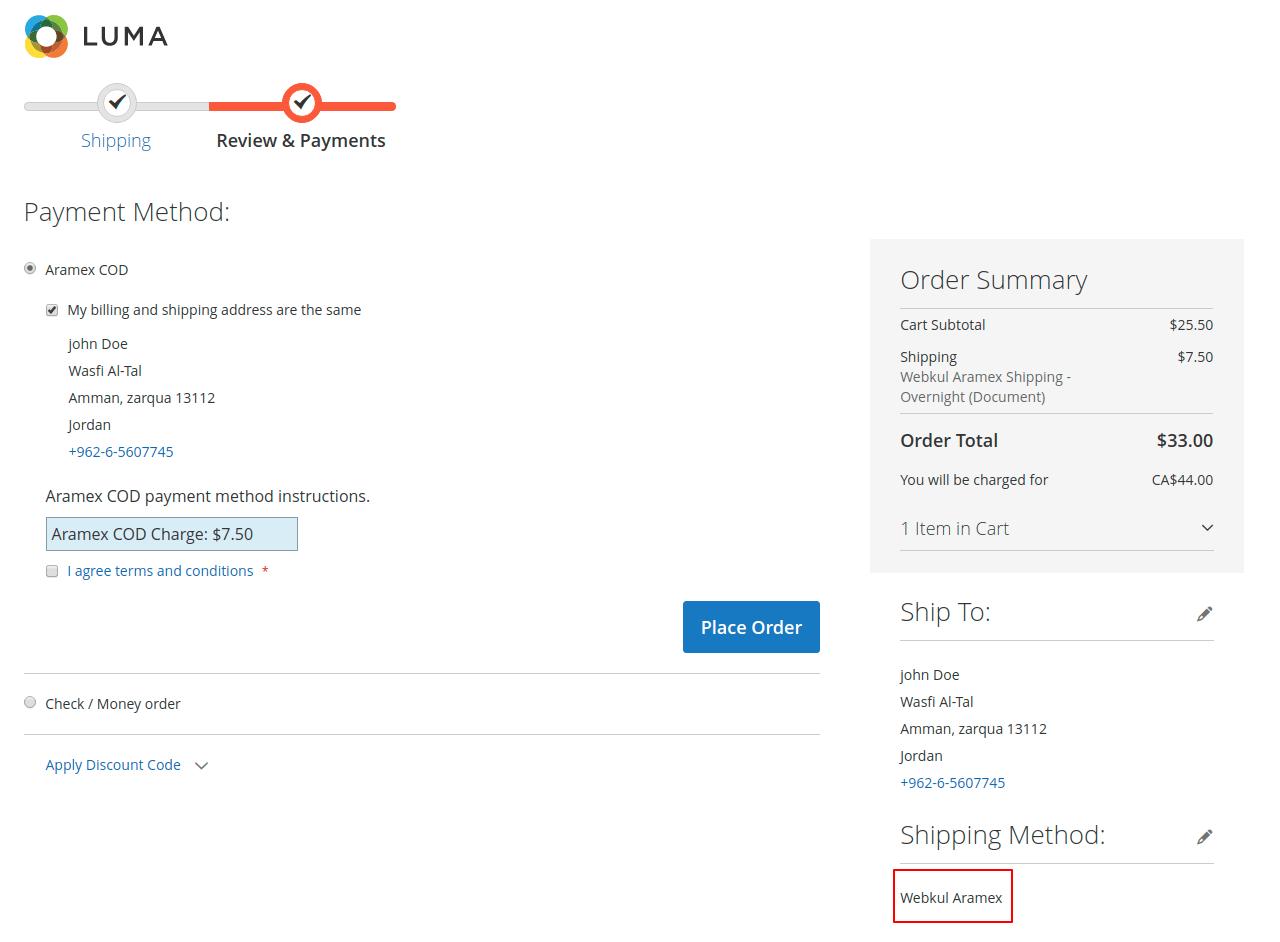 webkul-magento2-Aramex-cod-payment-method