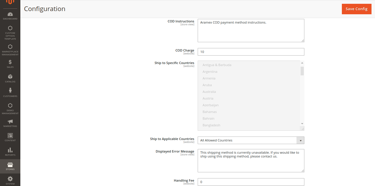 webkul-magento2-marketplace-aramex-shipping-cod
