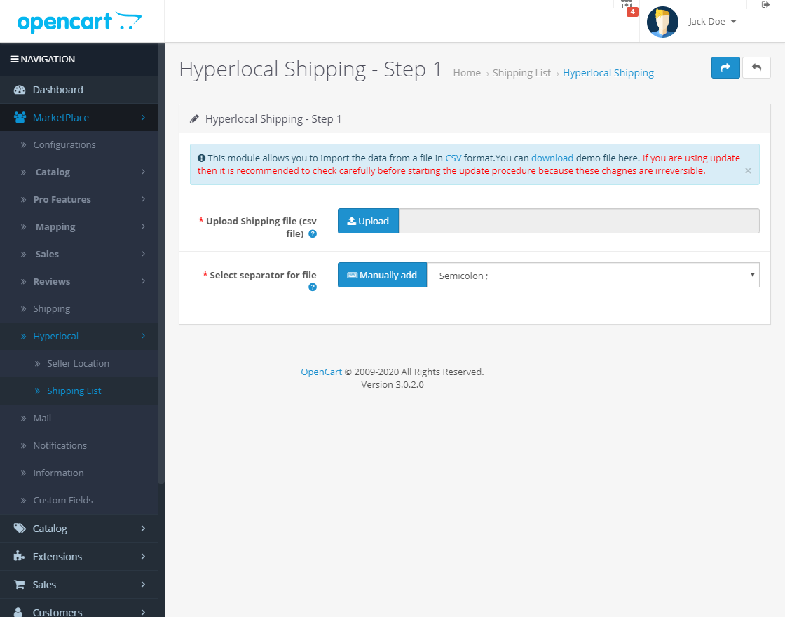webkul-opencart-marketplace-hyperlocal-system-module-seller-add-shippping-list