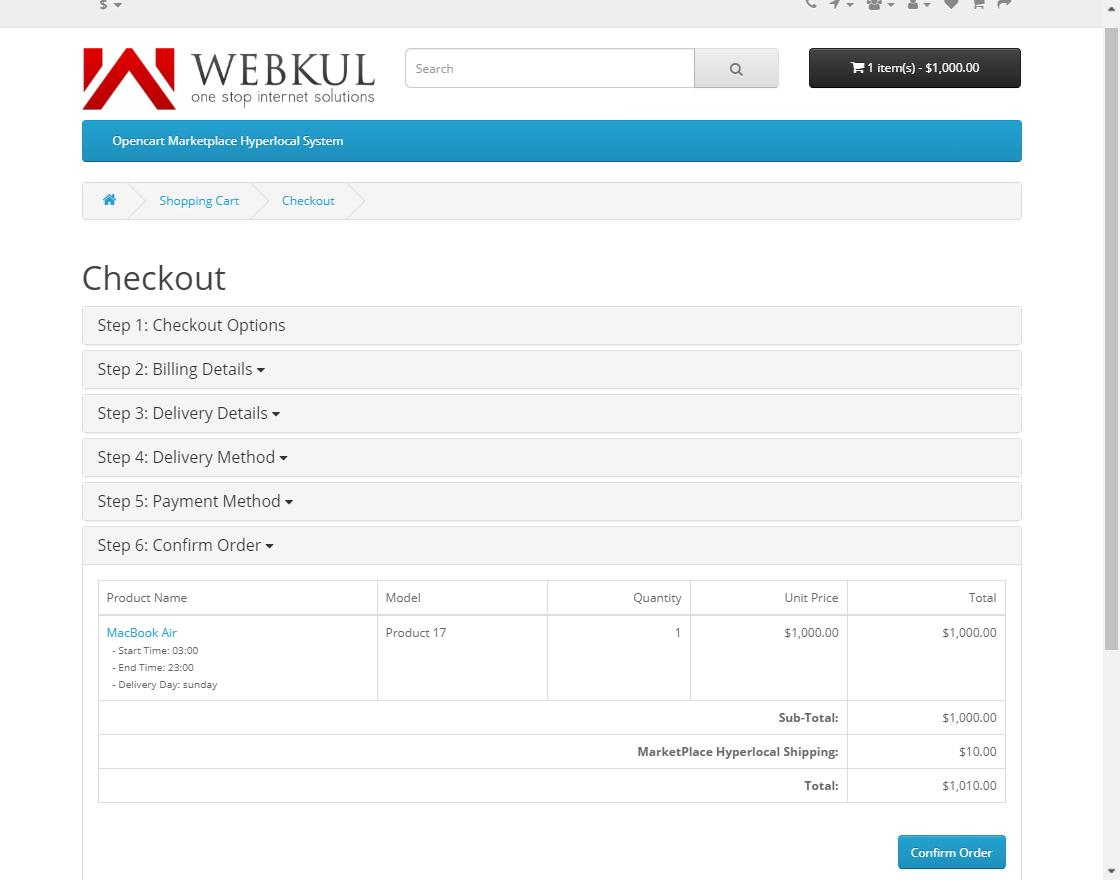 webkul-opencart-marketplace-hyperlocal-system-module-seller-productcheckout-sic