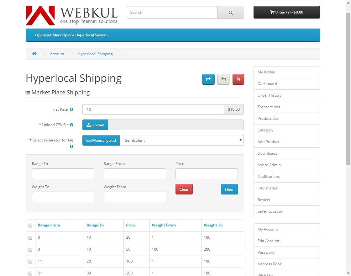 webkul-opencart-marketplace-hyperlocal-system-module-seller-shiping-list