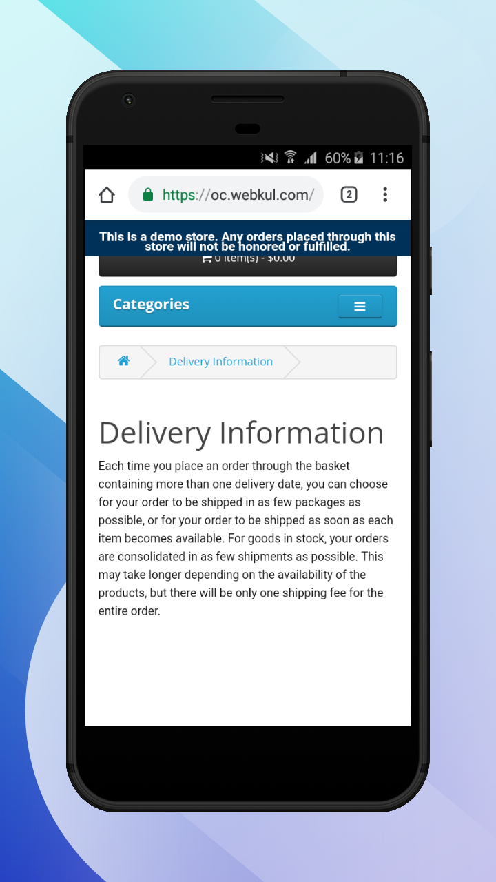 OpenCart Accelerated Mobile Pages-Delivery_information