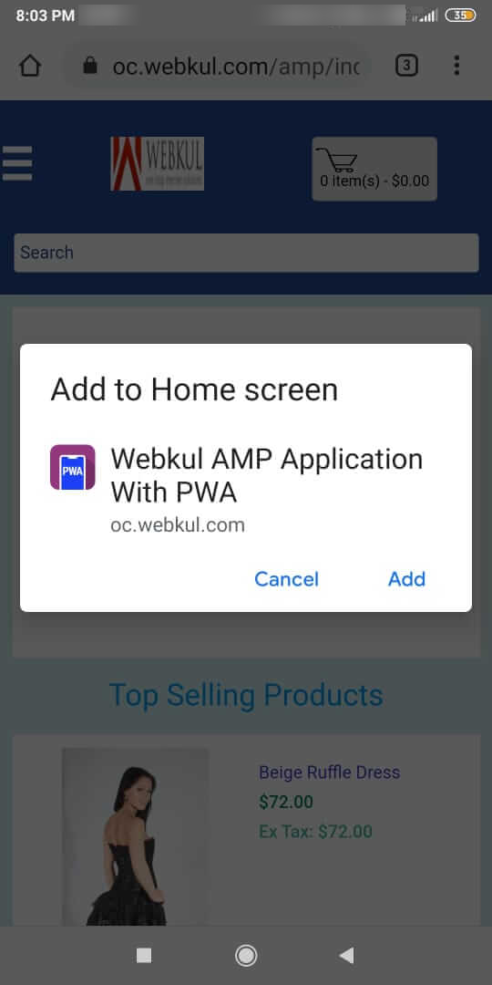 OpenCart Accelerated Mobile Pages-add-to-homescreen-popup