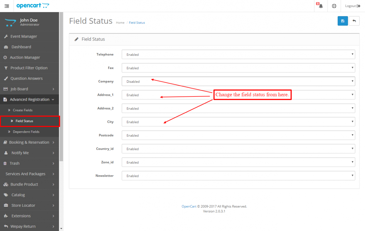 change field status