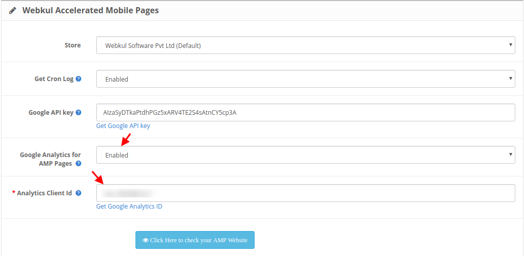OpenCart Accelerated Mobile Pages enter analytics id