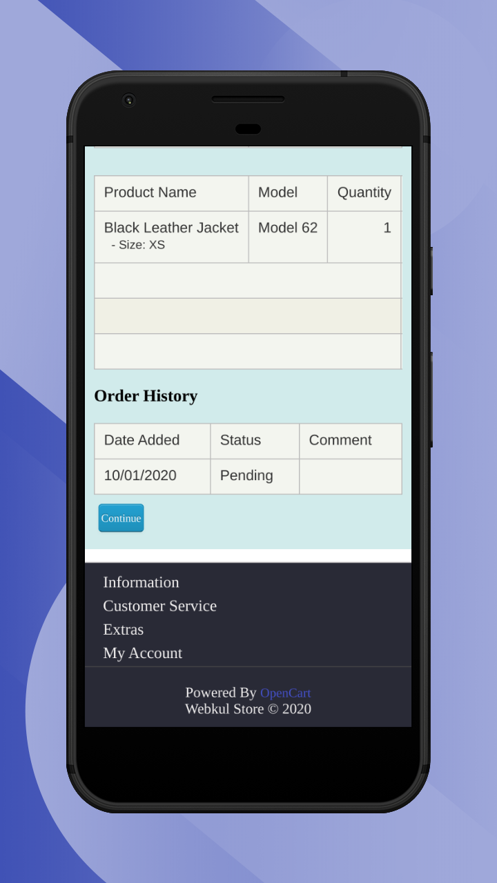 view order history section