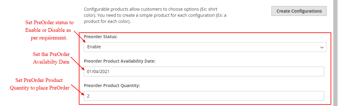 Seller PreOrder Product Settings