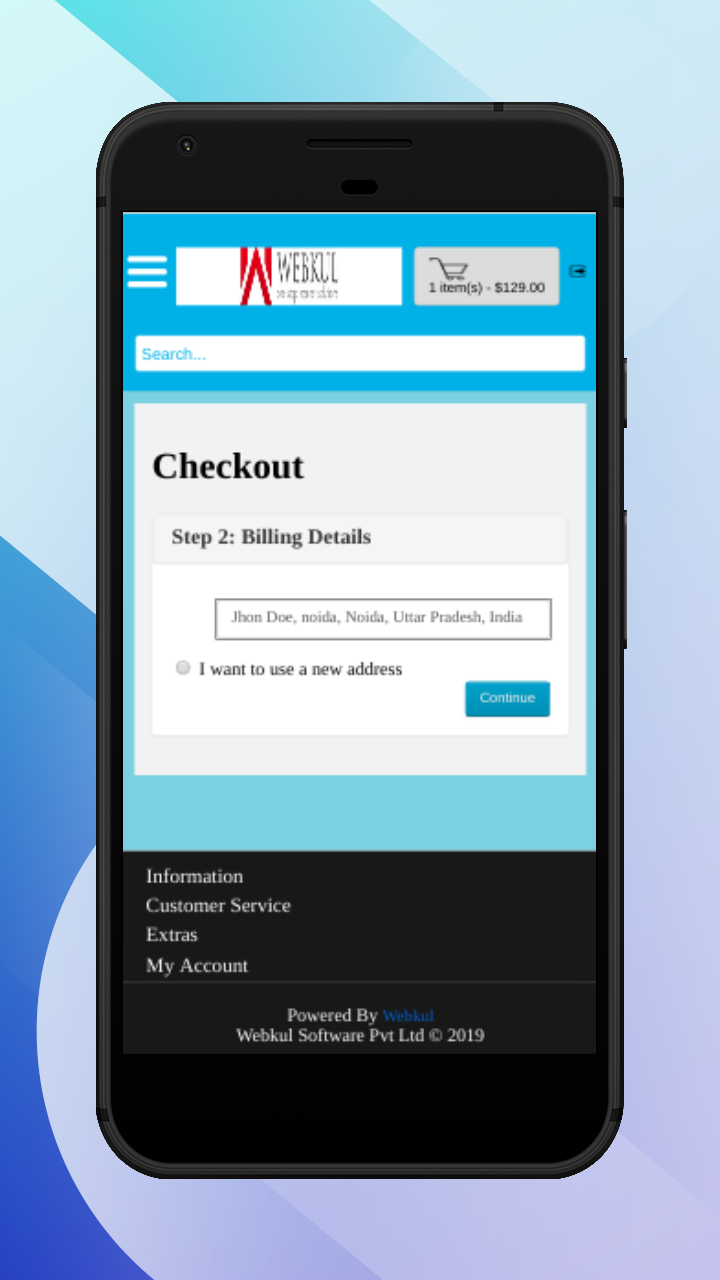 OpenCart Accelerated Mobile Pages-select billing details