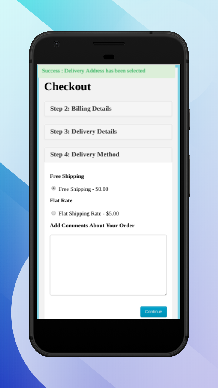 OpenCart Accelerated Mobile Pages-select shipping method