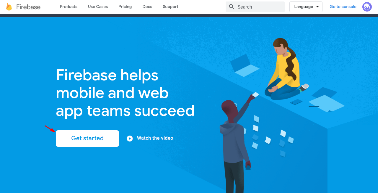 firebase get started to create the keys