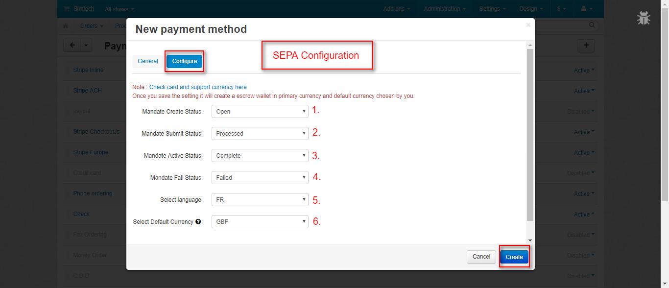 SEPA Configure