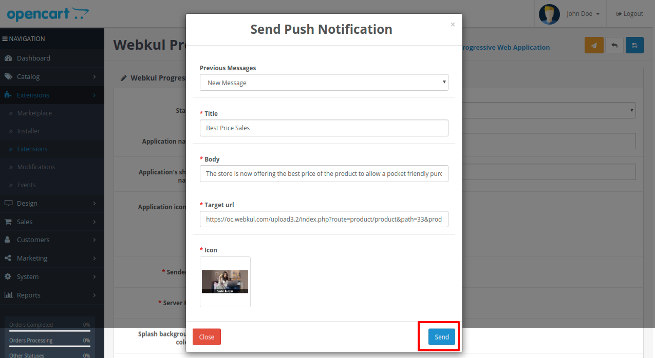 Webkul Progressive Web Application-opencart-add-push-notification