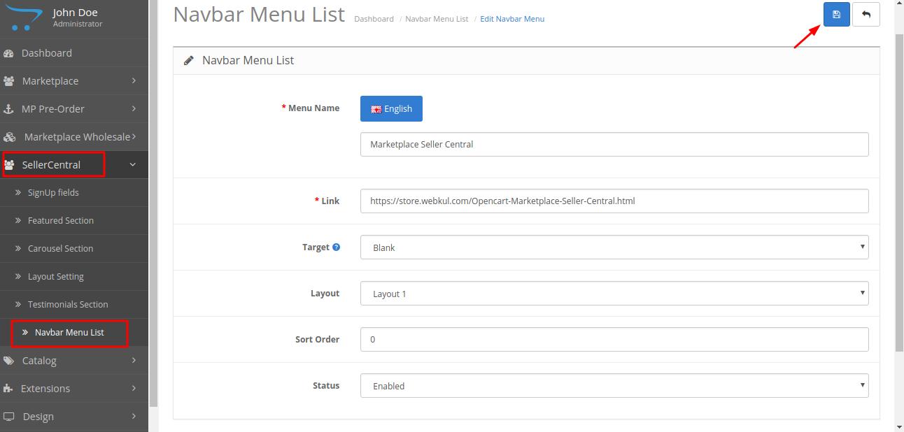 navbar menu setting