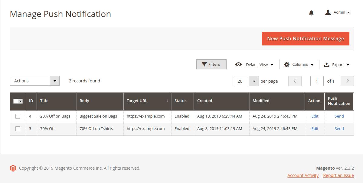 webpush notification
