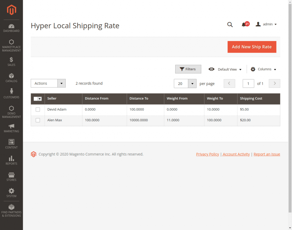 Magento2 Marketplace Hyperlocal System_shipping_rate